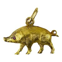 French 18K  Yellow Gold Ruby Pig Charm Pendant