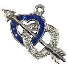 Interlocking Hearts and Cupid's Arrow Sapphire Diamond Platinum Charm Pendant