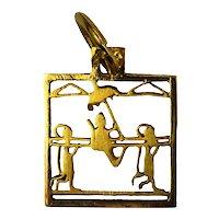 Sedan Chair 18K Yellow Gold Square Charm Pendant