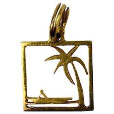 Desert Island 18K Yellow Gold Square Charm Pendant
