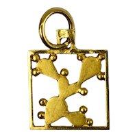 Cactus 18K Yellow Gold Square Charm Pendant