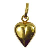 18K Gold Puffy Love Heart Charm Pendant