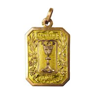 French First Communion 18K Yellow Rose Gold Charm Pendant