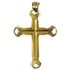 French 18K Yellow Gold Cross Charm Pendant