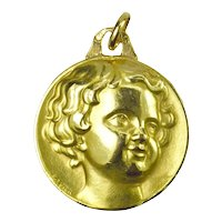 French Cherub Head Medal 18K Yellow Gold Charm Pendant