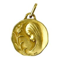 French Virgin Mary and Lily 18K Yellow Gold Charm Pendant
