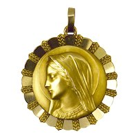 Large Emile Dropsy French Virgin Mary 18K Yellow White Gold Medal Pendant