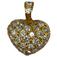 Puffy Heart 18K Gold Diamond Charm Pendant