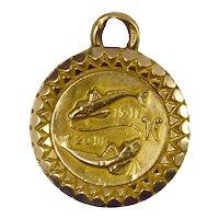 Zodiac Pisces 18K Yellow Gold Charm Pendant