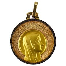 French Virgin Mary 18K Yellow Rose Gold Medal Pendant