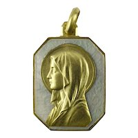 French Virgin Mary 18K Yellow Gold Mother of Pearl Charm Pendant