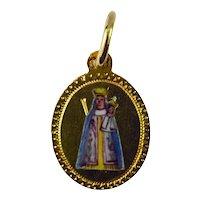 French Madonna Souvenir 18K Yellow Gold Enamel Charm Pendant
