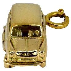 Mechanical Car 9K Yellow Gold Charm Pendant