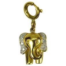 Elephant 18K Yellow Gold Diamond Charm Pendant