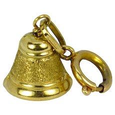 Ringing Bell 9K Yellow Gold Charm Pendant
