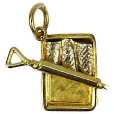 9K Yellow Gold Tin of Sardines Charm Pendant