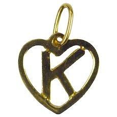 Letter K Heart 18K Yellow Gold Charm Pendant