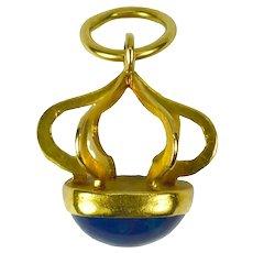 18 Karat Yellow Gold Swiss Lapis Charm Pendant