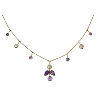 An exquisite antique Arts and Crafts 9 ct gold necklace with amethyst and blister pearls. 1880-1900