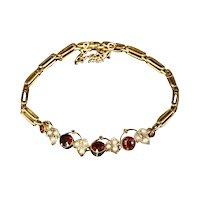 Elegant and Dainty Edwardian Garnet and Split Pearl Gold Bracelet c 1910