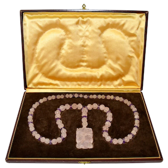 Gorgeous Chinese Carved Rose Quartz Necklace with Pendant, 116 gram, Art Deco, 1920, boxed.