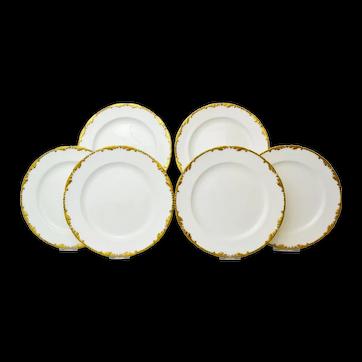 Lovely Set of 6 Antique Porcelain Dessert Plates.  Cauldon, 1904-1920
