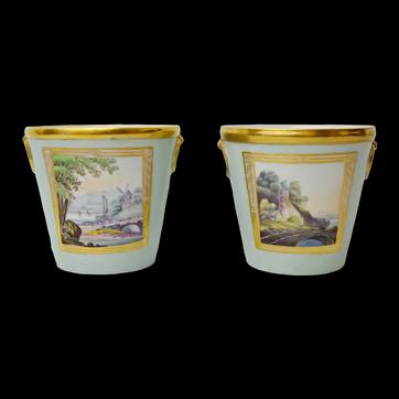A Pair of Antique Early 19th Coalport Porcelain  Cache Pots Planters with Romantic Views
