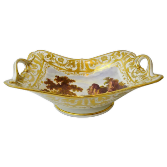 """A fine early Derby Basket Compote, with painted topographical scene """"In Switzerland"""" and moulded handles. England, c. 1820"""