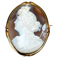 Museum Quality Antique Cameo of Bacchus (Dionysus) in high-carat gold frame. 1840-60