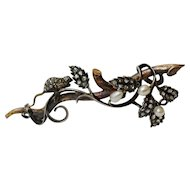 """Rare Late Victorian Novelty Diamond and Pearls """"Mouse on a Fruiting Bough"""" Brooch, c 1880-90"""