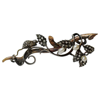 "Rare Late Victorian Novelty Diamond and Pearls ""Mouse on a Fruiting Bough"" Brooch, c 1880-90"