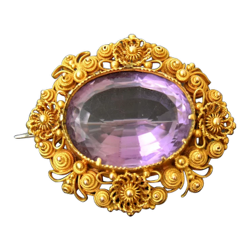 Antique Georgian Amethyst and 18 ct Gold Cannetille Brooch, c 1830