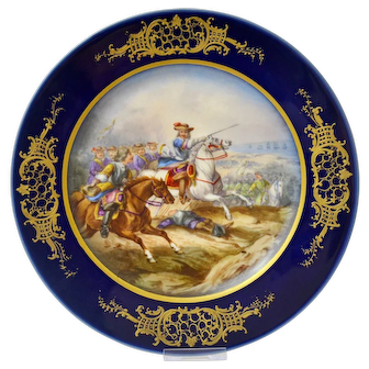 A superb antique hand painted Limoges cabinet plate signed by the artist H. Desprez, late 19th century.