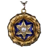 A fine antique Victorian 18ct gold, enamel, pearl and diamond pendant locket, c 1860