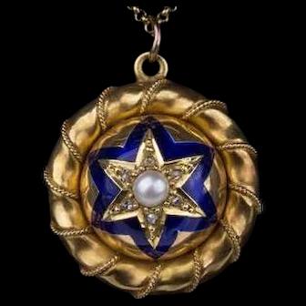 A fine antique Victorian 18ct gold, enamel, pearl and diamond pendant locket, c 1860