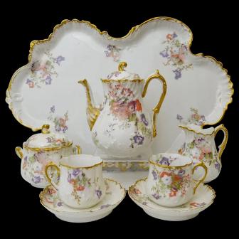 Fine antique porcelain Limoges Cabaret / Tete-a-Tete Set. Martial Redon, 1891-96