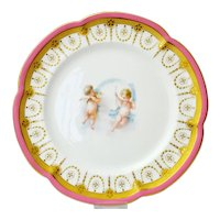 Victorian Minton plate. Hand painted Cherubs in the manner of Thomas Kirkby, 1870