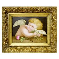 "Rare Antique Porcelain Plaque ""Cherub and a Dove"" by James Rouse Snr., 1878"