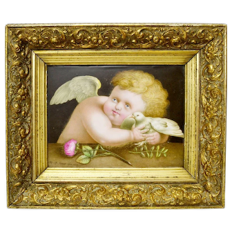 "Rare Antique Porcelain Plaque ""Cherub and a Dove"" by James Rouse Snr., 1878"