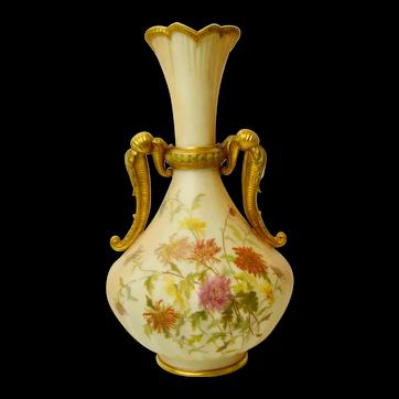 А Large Gorgeous Royal Worcester Blush Ivory Twin Handled Vase, c 1892