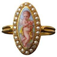 Rare and Exquisite Antique 15 ct Gold Pearls and Swiss Enamel Cherub Ring, circa 1840