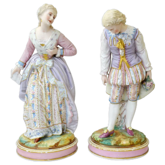 Gorgeous large pair of bisque figures Vion&Baury 1860-70, France.