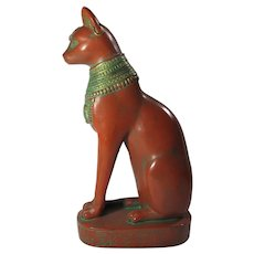 Vintage Red & Green Stone Bastet Cat Goddess Statue