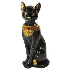 Vintage Black Porcelain Bast Egyptian Cat Goddess Statue by Lenox