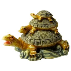 Vintage Three Turtles Good Luck Statue From China