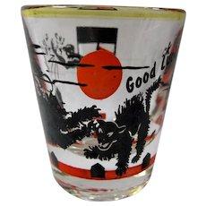 SALE! 1950s Black Cat Good Luck Shot Glass
