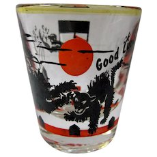 SALE! 1950s Black Cat Good Luck Shot Glass