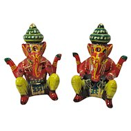 Vintage Set of Ganesha Hindu Elephant God Musician Figurines