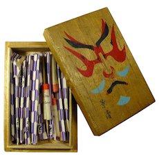 1950s Japanese Fortune Telling Toothpicks in Kabuki Face Box