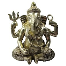 Vintage Silver-Plated Ganesha Elephant God Statue From India